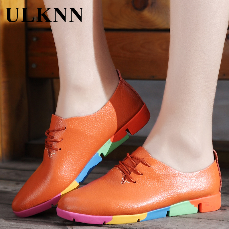 ULKNN Flats For Woman Pointed Toe Flat Genuine Leather Shoes For Women Black  Lace Up Women White Shoes Woman size 35-41 lovexss patent leather derby shoes square toe lace up black white woman flats black white square toe genuine leather derby shoes