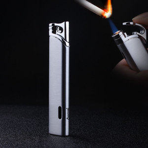 Image 1 - Top Quality Compact Turbo Lighter Gas Torch Lighter Strip Windproof All Metal Cigar Lighter 1300 C Butane No Gas
