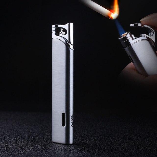 למעלה איכות קומפקטי טורבו מצית גז לפיד מצית רצועת Windproof כל מתכת סיגר מצית 1300 C בוטאן אין גז