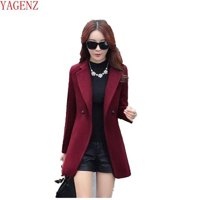 d928a5612562 YAGENZ Outono/inverno 2017 mulheres novo estilo sul Coreano moda imitação  cashmere casaco de pano