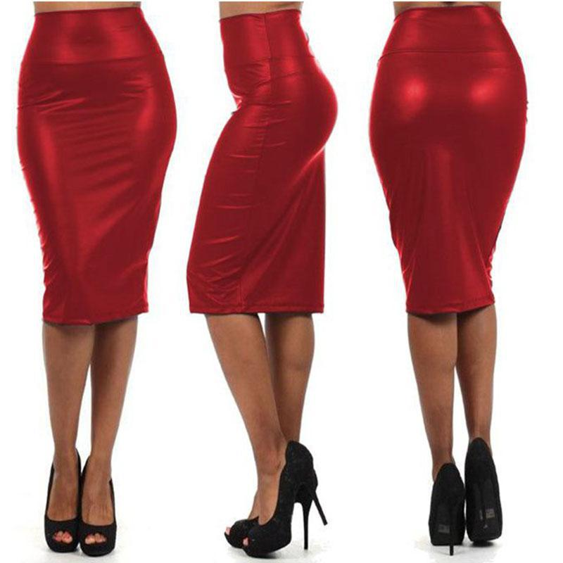 Hot Sale Women High Waist OL Slim Pencil Skirts Fashion PU Leather Package Hip Skirts Step Office Formal Skirt 2 Colors