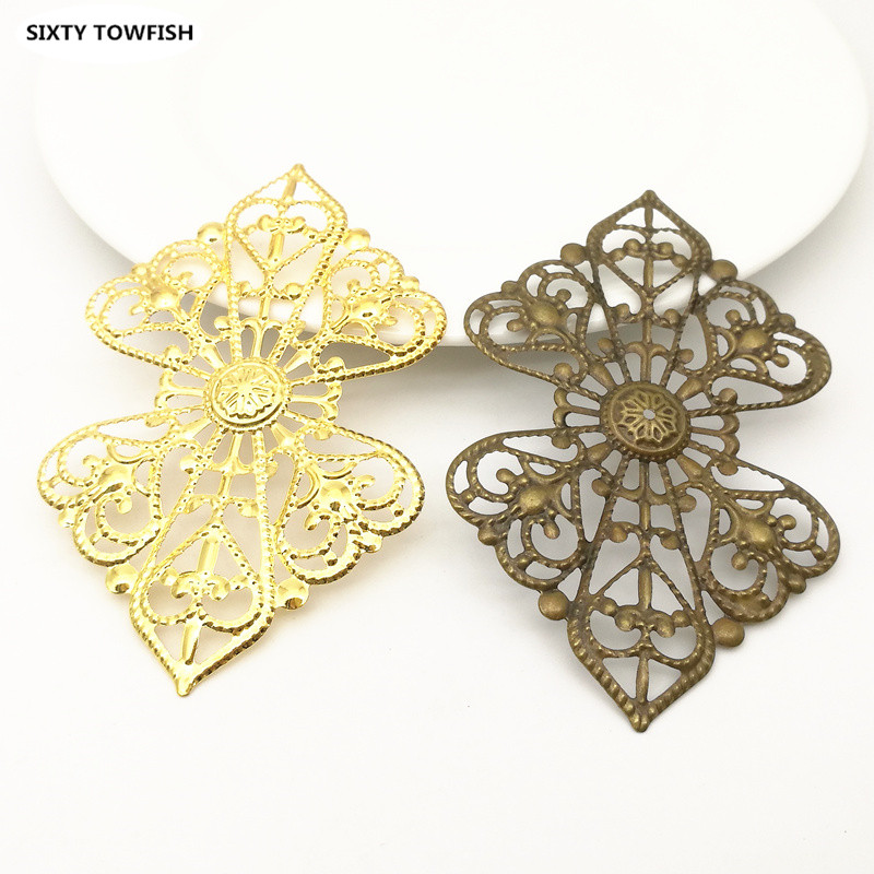 10 Pieces/lot 52X85mm White K/Antique Bronze Metal Filigree Flowers Slice Charms Jewelry DIY Components Findings B1071709