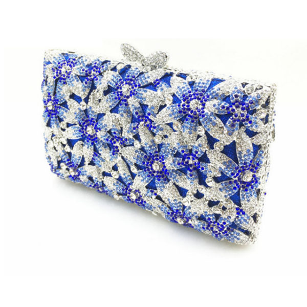 Women's silver Evening Night Club Crystal Clutches Bags blue Metal Hard Case Diamond Wedding Bridal Shoulder Handbags Purse pink golden crystal diamond rabbit women evening clutch bags bridal wedding dress handbags shoulder purses hard case metal clutches