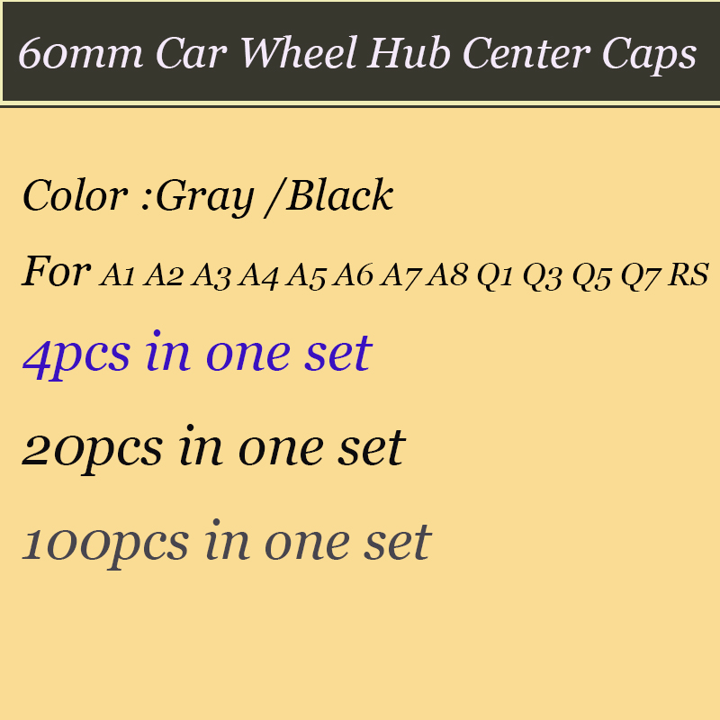 Set of 60mm ABS black Gray Color car emblem badge rims wheel Hub Covers auto caps label For A1 A2 A3 A4 A5 A6 A7 A8 Q1 Q3 Q5 Q7