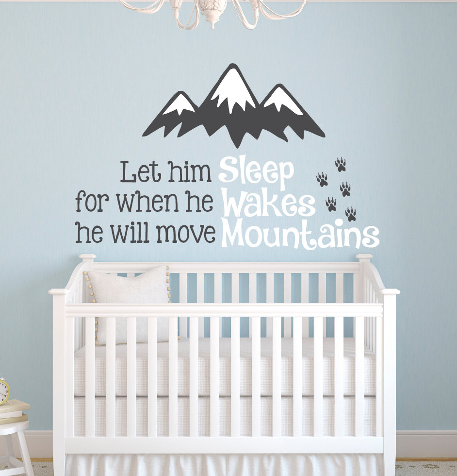 Nordic Style Mountains Quotes Wall Sticker for Kids Room Baby ...