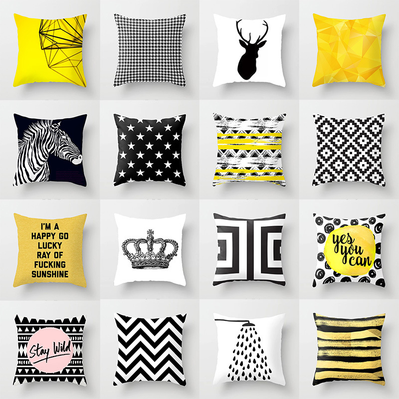 Lychee Nordic Geometric Pillow Cases Polyester Peachskin 45x45cm Yellow Decorative Pillow Cover Home Sofa Pillowcase