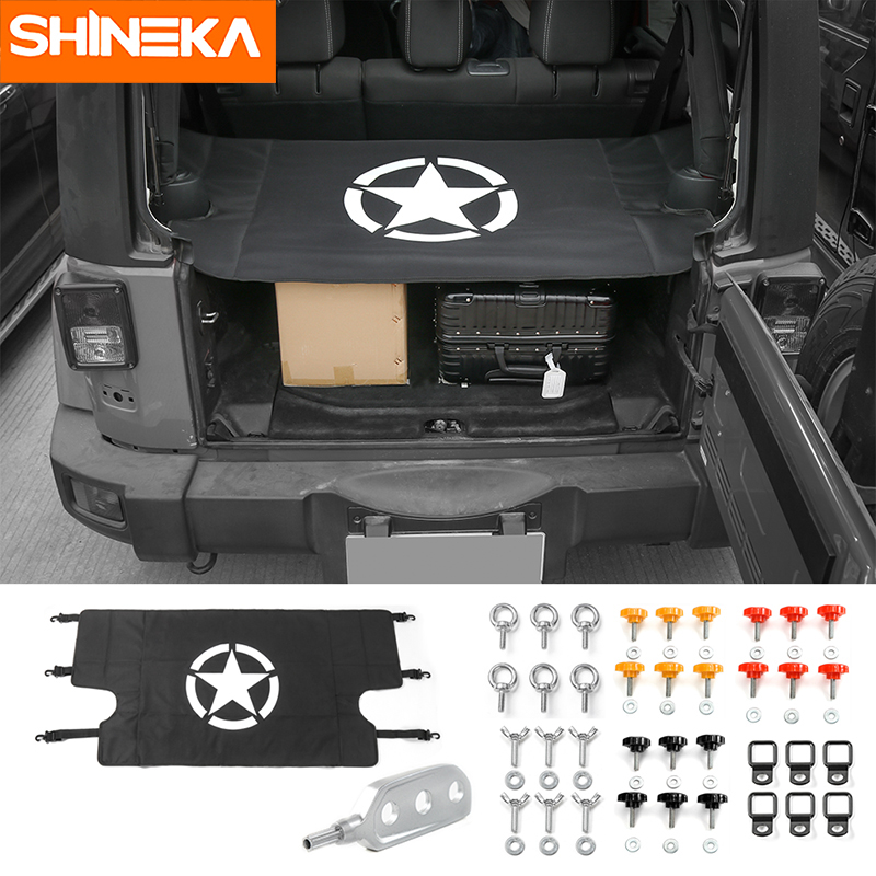 SHINEKA 4 Doors Star Car Accessories Trunk Cover Tail Door Screw Buckle Withdrawal Tool Remover for Jeep Wrangler JK 2007+ 8pcs stainless steel side door decoration strip for 4 doors for jeep wrangler jk 2007 2016 4 doors car styling accessories