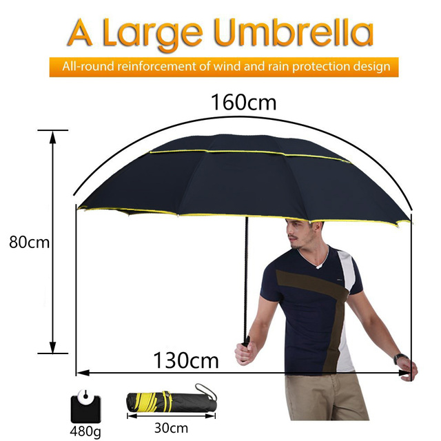 130cm Big Top Quality Umbrella Men Rain Woman Windproof Large Paraguas Male Women Sun 3 Floding Big Umbrella Outdoor Parapluie 1