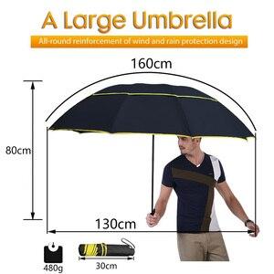 Image 2 - 130cm grand haut qualité Parapluie hommes pluie femme coupe vent grand paraguay mâle femmes soleil 3 pliant grand Parapluie en plein air Parapluie