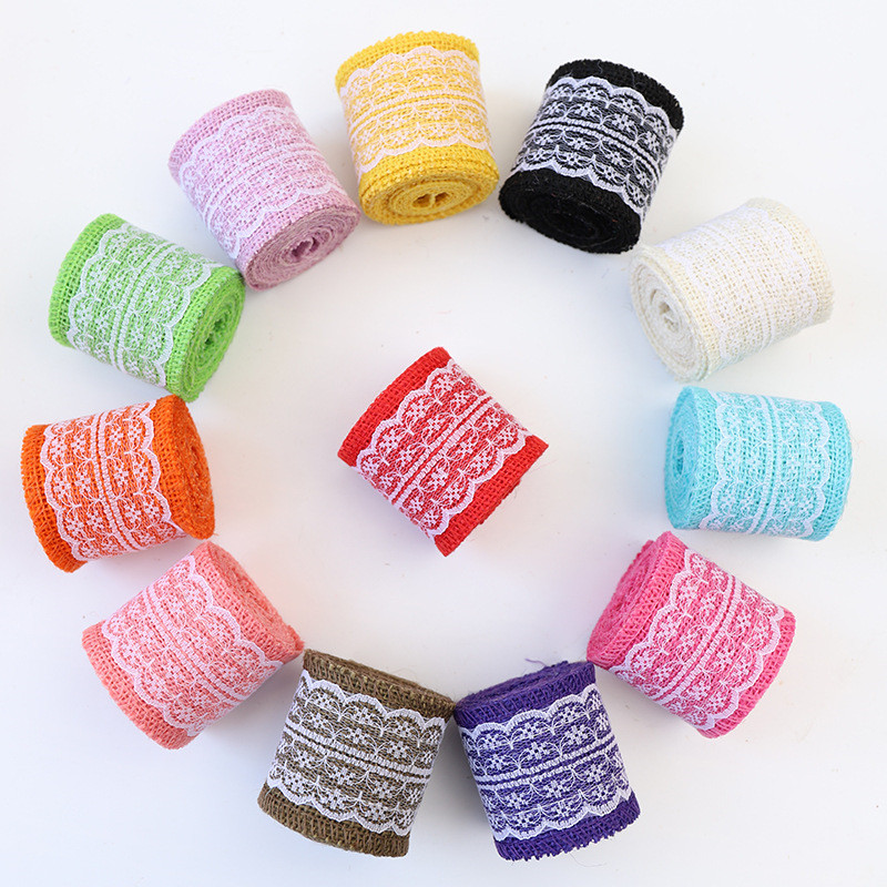 New! Length 2 meters wide 6cm Various color linen roll Clothing shoes and hat accessories Wedding decoration lace linen ribbon