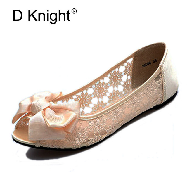 ad6da36cf08f86 New 2018 Sexy Bow Open Toe Women Lace Flats Fashion Breathable Women Flat  Summer Shoes Ladies Casual Ballet Flats Big Size 35-41