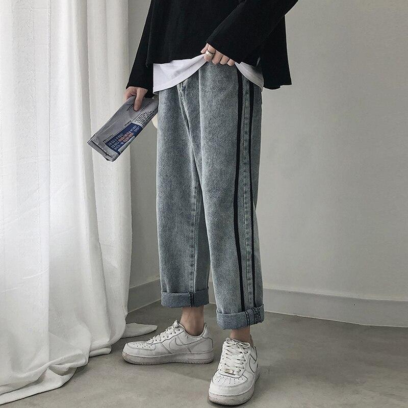 Send Belt 2019 Summer Men's Stripe Printing Baggy Homme Classic   Jeans   Men Casual Pants Biker Denim Trousers Plus Size S-2XL