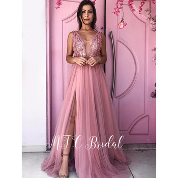Newest Dusty Pink Evening Dresses Side Slit Beading V Neck A Line Tulle Long Formal Dress 2019 Custom Made Women Occasion Gowns