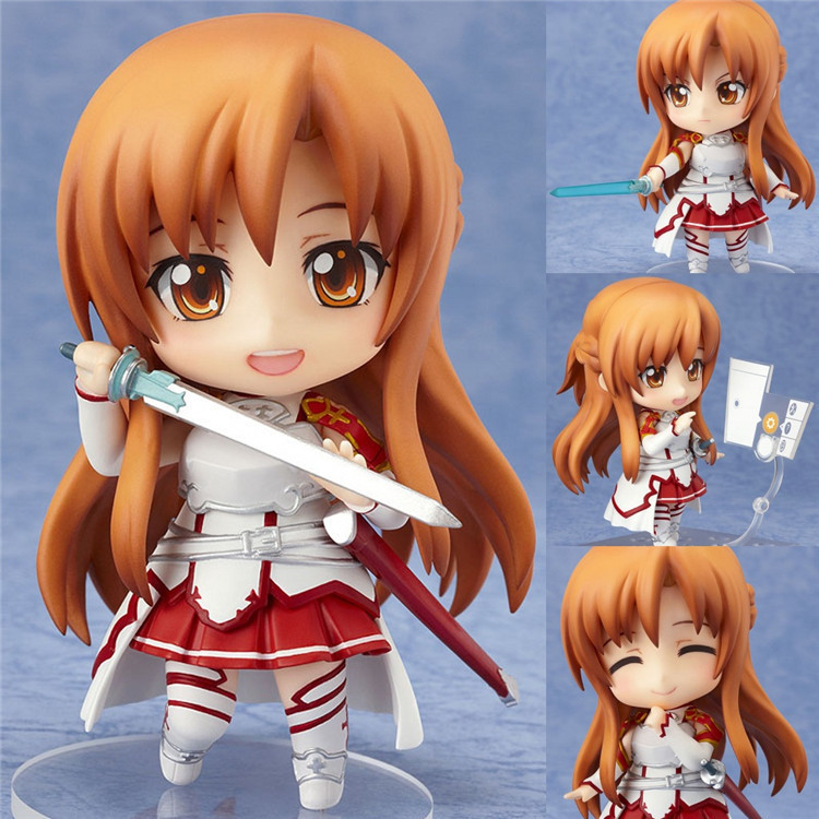 Cute Nendoroid Anime Sword Art Online Figure Brinquedos Asuna PVC Action Figure Juguetes Collectible For Kids Toys Gifts anime figma 289 sword art online ii kirito alo ver alover kirigaya kazuto pvc action figure collectible model toy 14cm kt2969