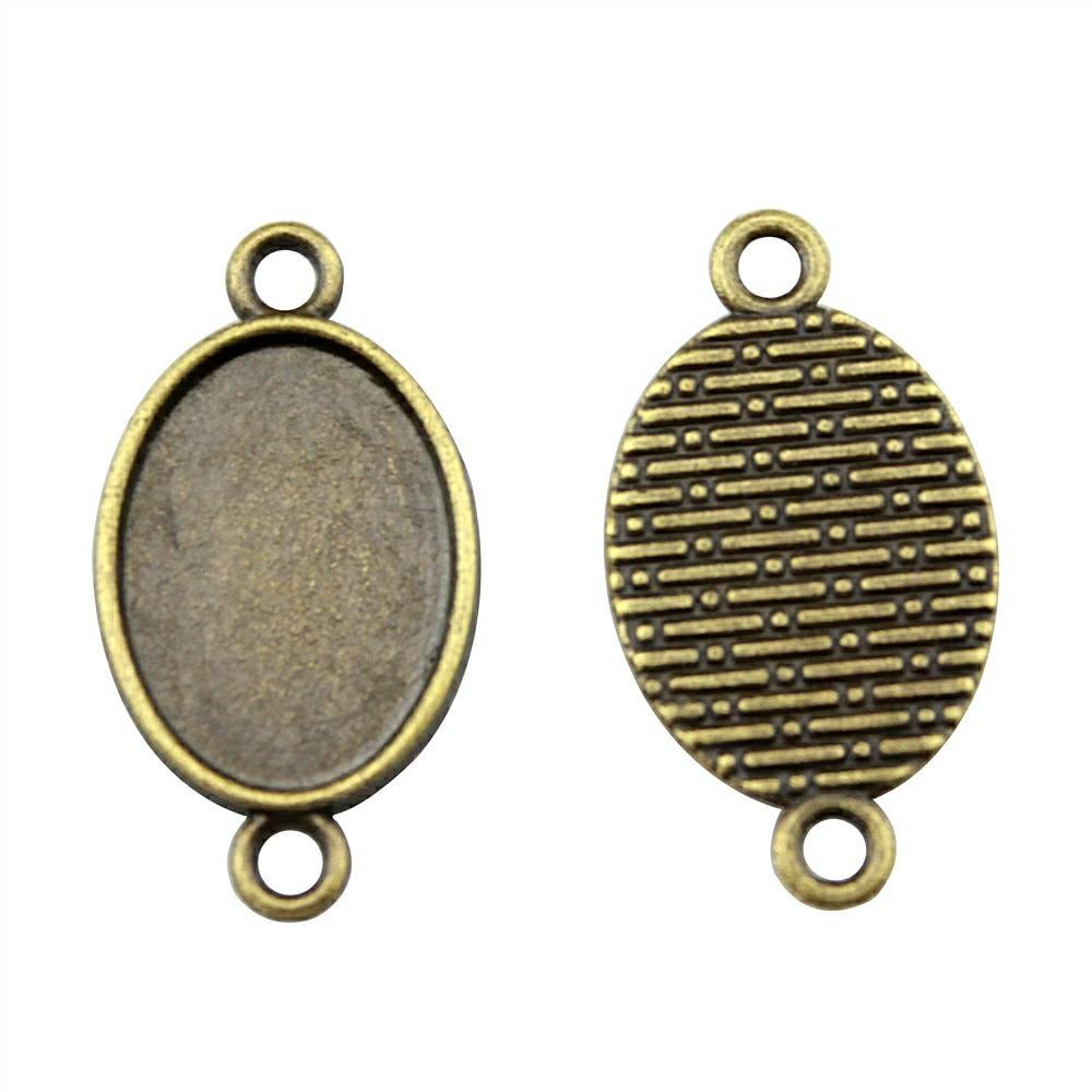 20 штук 13×18 мм внутренняя Размеры 2 цвета античная бронза, старинное серебро овальная основа для Камея Установка подвеска