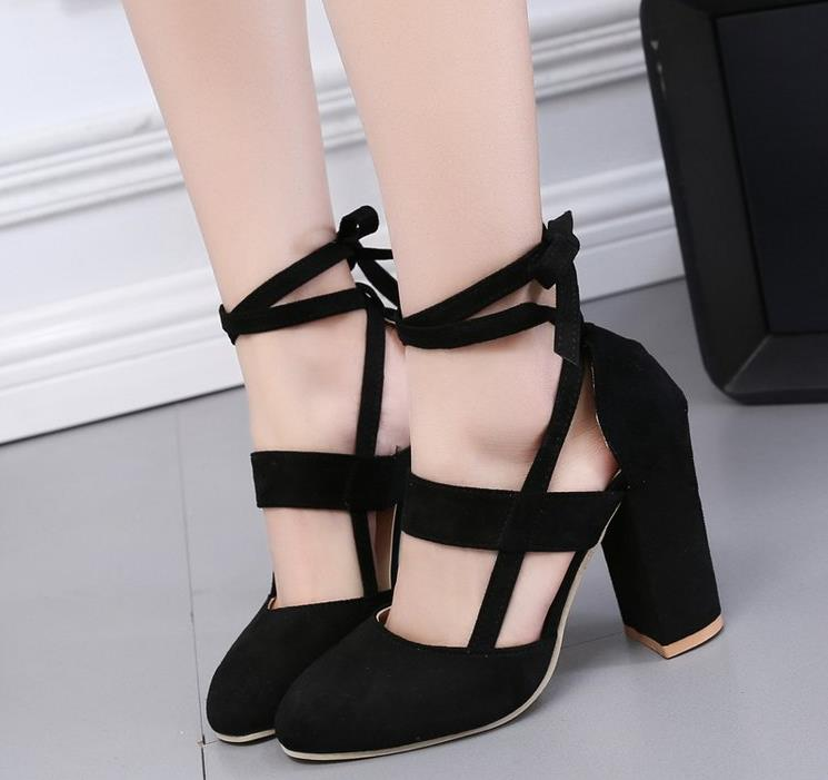 46c29f312a3 Baotou thick with high heel shoes small size 33 straps large size foot fat  wide fat 40 round head 41 women s shoes 43-in Women s Pumps from Shoes on  ...
