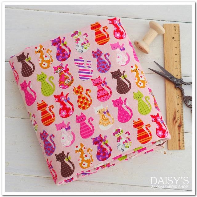 Zakka Janpan лён ткань милый cat печать бельевой хлопок ткань для своими руками ремесла 140 * 100 см