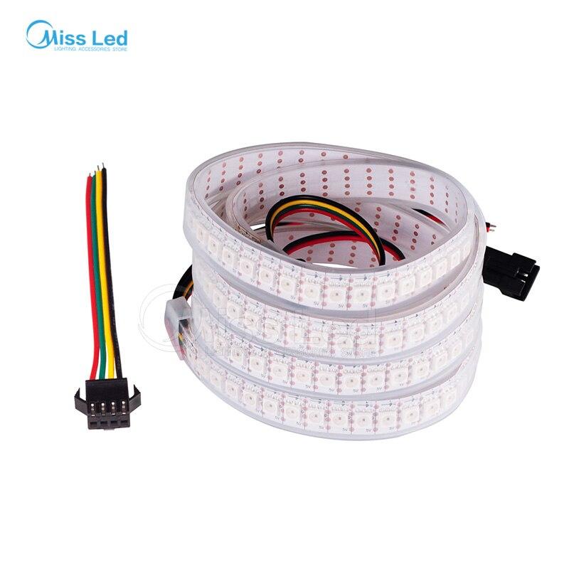 1 м 144 светодиодов/M SK9822-APA102 Smart LED пикселей в полоску, белый PCB, IP67 трубки водонепроницаемый, данные и часы отдельно, SMD5050 индивидуально