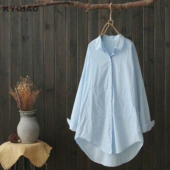 KYQIAO blusas mujer de moda 2020 mujer embarazada otoño estilo japonés manga larga azul blusa blanca camisa para embarazada madre