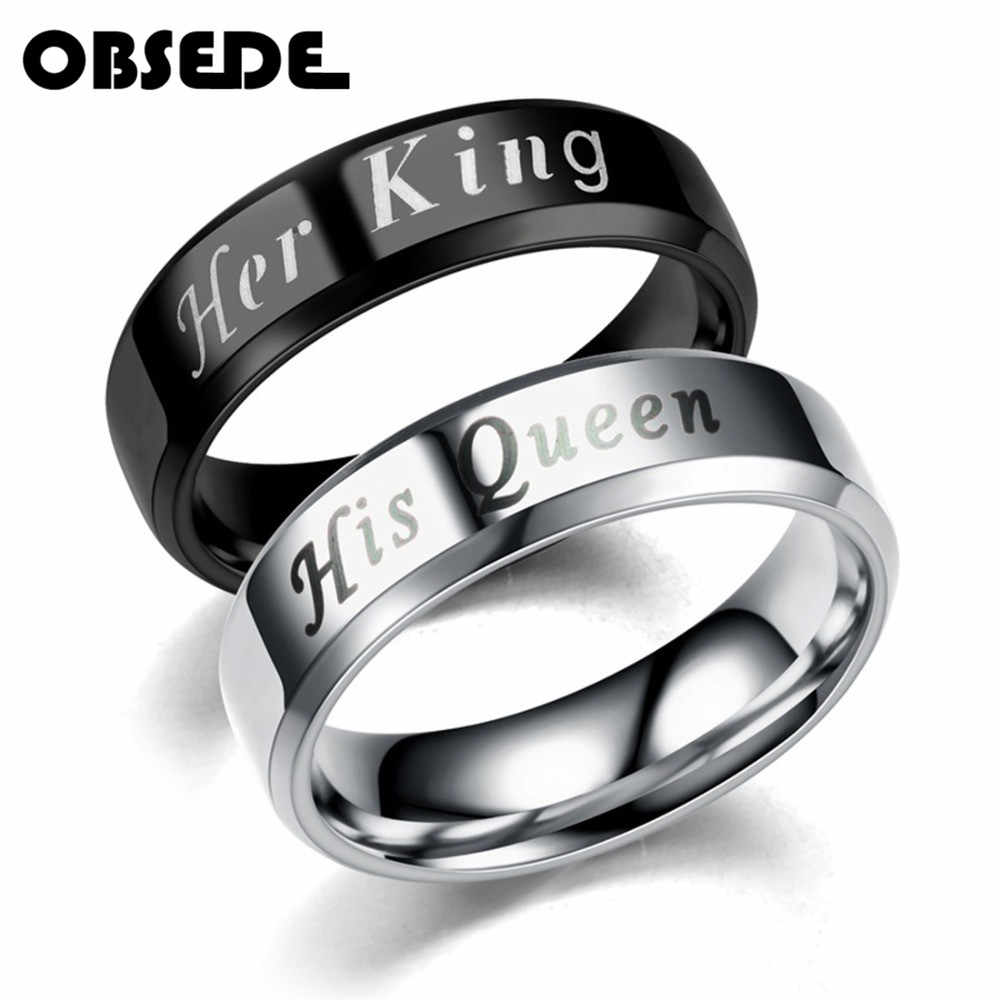 ebaa1c4807 OBSEDE King Queen Rings Stainless Steel Couples Lover Engrave Rings for Men  Women Romantic Wedding Engagement