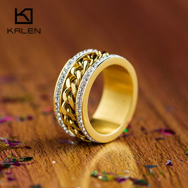 Kalen New Fashion Jewelry Stainless Steel Italian Gold Silver Ring Women Wedding Engagement Anniversary Party