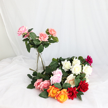 Artificial Rose 2 Heads Velvet Roses Simulated Flowers  Home Decorating Lace Pink Party Decorations