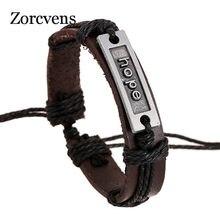 LETAPI-pulsera de cuerda y piel negra para hombre y mujer, brazalete ajustable