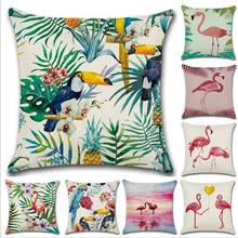 WINLIFE Flamingo Pillow Case Soft and Breathable Pillowcase Linen Pink 45*45