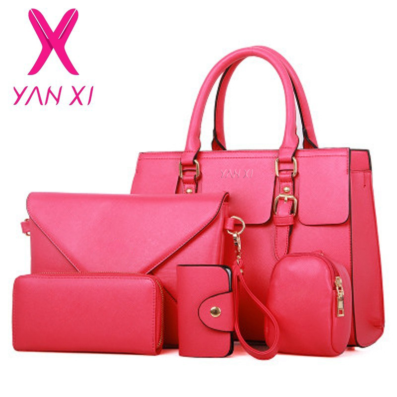 YANXI New Woman Handbag PU Leather Shoulder Bags Lady Handbag+ Messenger Bag+ Purse +Card Bag +Key Bag 5 Sets high quality Tote thinkthendo new woven bags chain strap replacement for purse handbag shoulder bag accessories faux leather metal