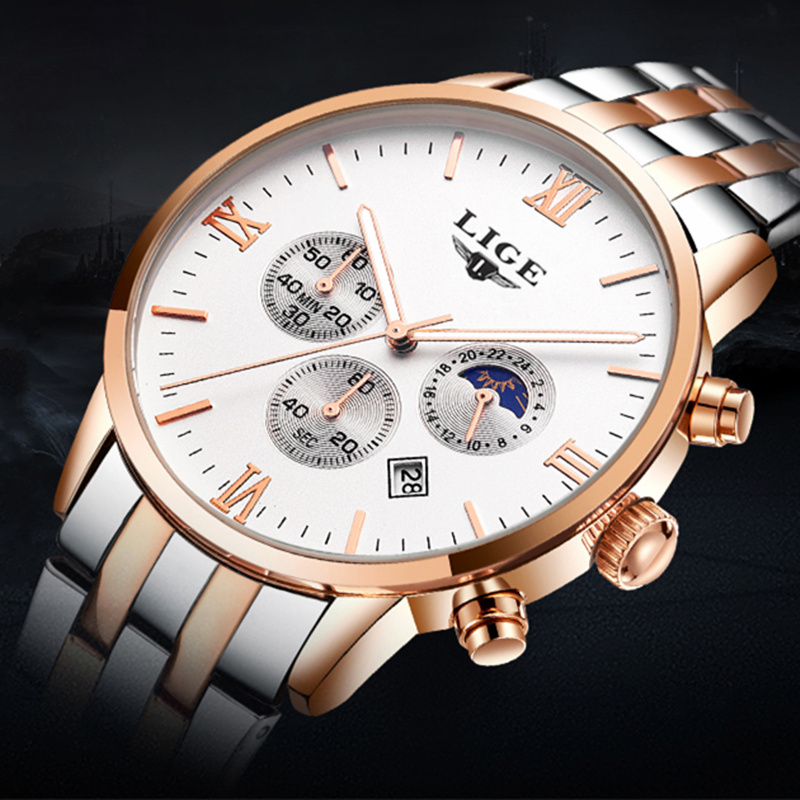LIGE Fashion Mens Watches Top Brand Luxury Moon Phase Full Steel Quartz Watch Man Sports Waterproof Watches Relogio Masculino все цены
