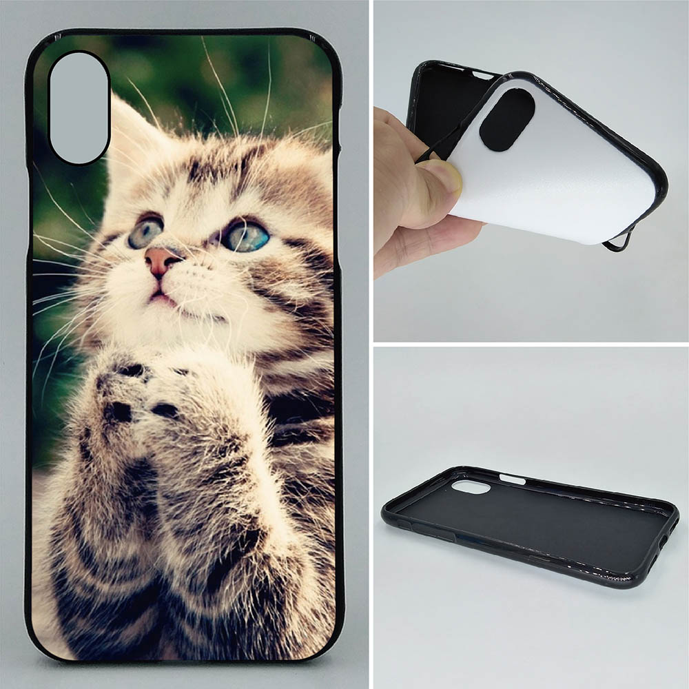 Phone Case For iPhone X XS XR XS Max Cases Kitten paying Cute Cat 2D Paiting Back Silicon Cover For iPhone X Soft TPU Covers