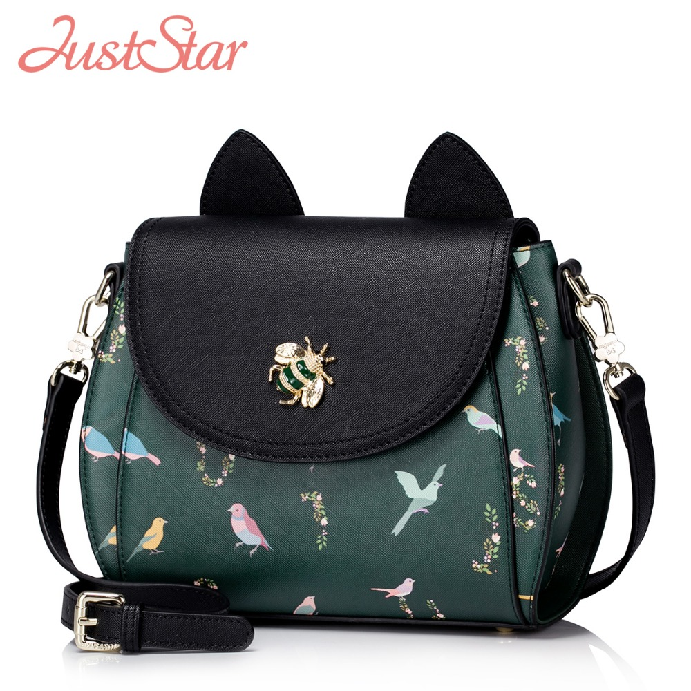 Just star Women PU Leather Messenger Bags Ladies Fashion Bee Bird Print Crossbody Bags Female Green Cover Shoulder Bag JZ5902 2016 new small vintage single shoulder women bag female pu leather messenger bags fashion shell crossbody bag gor young ladies