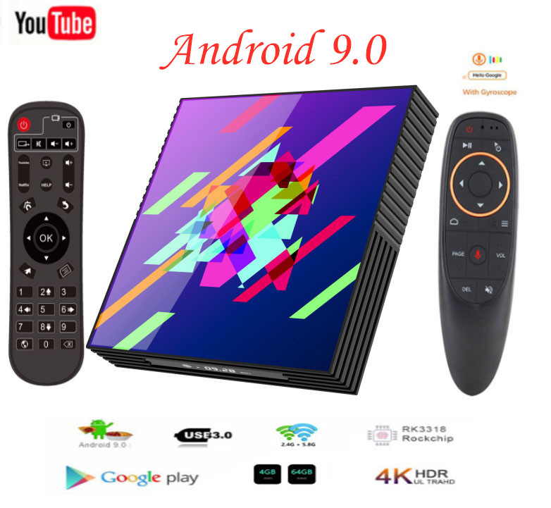 Caja de TV inteligente Android 9,0 4GB de RAM 64GB Rom Rockchip RK3318 A95XZ2 Plus Bluetooth 2,4/5G wiFi Android Tv box Google Media Player