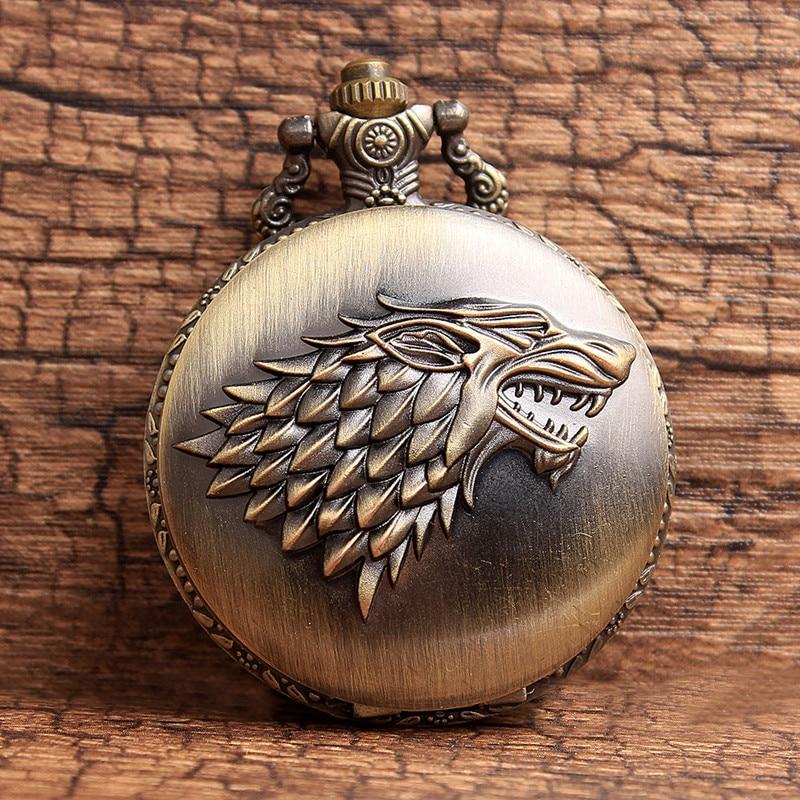 Classic Bronze Game of Thrones Stark Winterfell Wolf Locket Quartz - Lommeur - Foto 1
