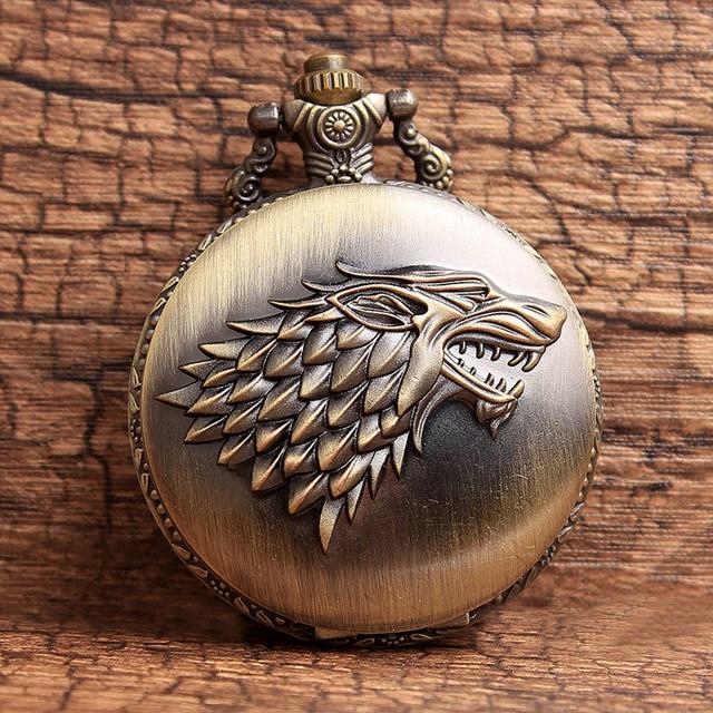 Classic Bronze Game of Thrones Stark Winterfell Wolf Locket Quartz Pocket Watch