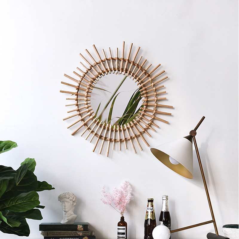 US $48 9 31% OFF|Indonesian rattan dressing makeup mirror creative art  decoration round mirror B&B living room porch wall wall hanging mirror-in