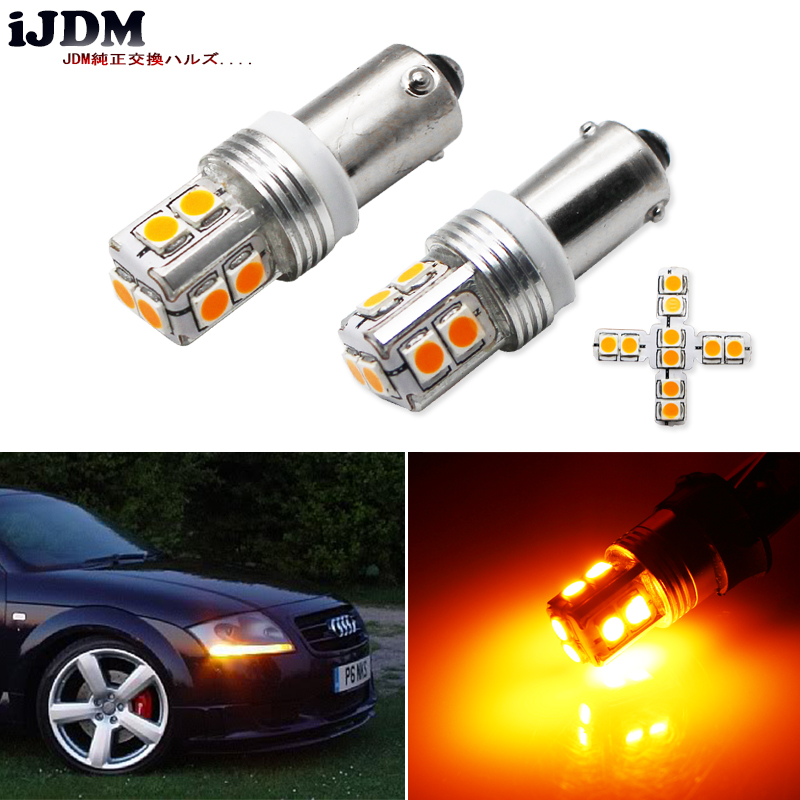 IJDM Canbus Error Free 10SMD-3030 H21W BAY9s LED For Car Reverse Lights Or Parking Lights, License Plate Lights,Amber Yellow