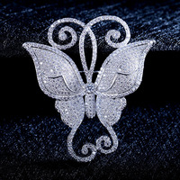 Fashion AAA Cubic Zircon Micro Paved Butterfly Brooches Pin Women Scarves Buckle 0012186