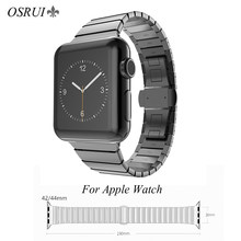 OSRUI de acero inoxidable correa de reloj Apple watch banda 4 44mm 40mm iwatch Banda 3 2 1 42mm pulsera de eslabones de pulsera de reloj de correa de 38mm(China)