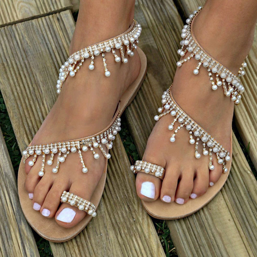 MUQGEW <font><b>Women's</b></font> Sandals <font><b>Shoes</b></font> Fashion new Beaded Sandals <font><b>Women</b></font> Summer <font><b>Shoes</b></font> Party <font><b>Sexy</b></font> Pearl <font><b>Flat</b></font> Bottom Sandals <font><b>Sapato</b></font> <font><b>Feminino</b></font> image