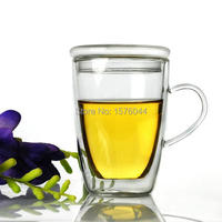 High Qauilty Heat Resistant Double Layer Wall Glass Cups Glas Handgrip Mugs Glassware 350ml Beer Mug