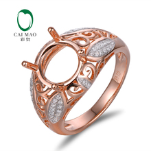 Round 9mm 14k Rose Gold Natural Diamond Semi Mount Engagement Ring Jewelry, Wholesale Ring
