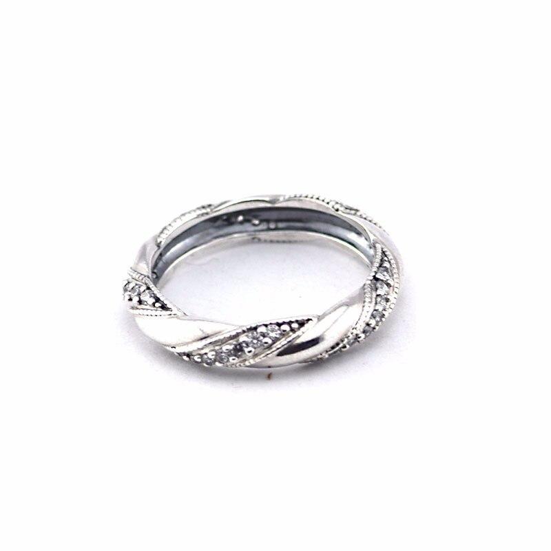 Fandola лента любви Кольца для Для женщин 100% стерлингового серебра 925 Ясно CZ Femme обручальное кольцо Бесплатная доставка