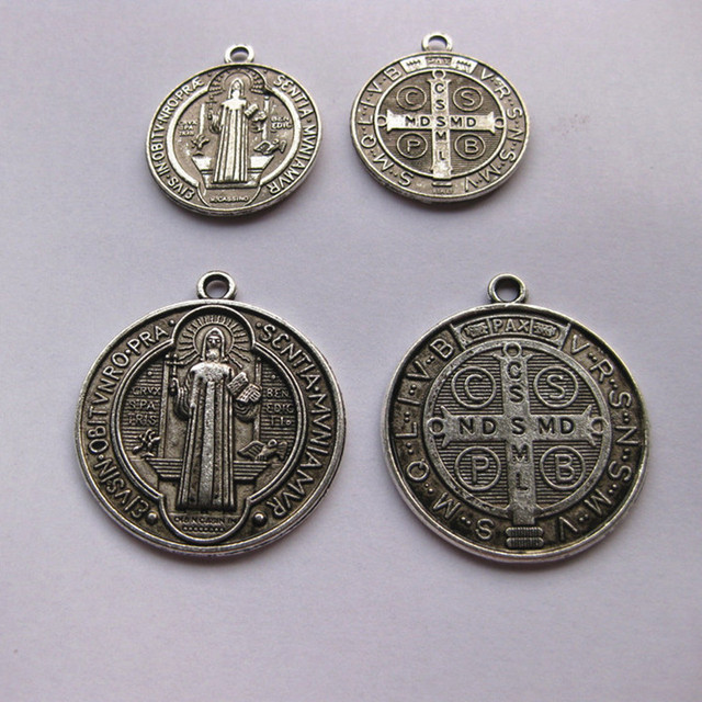 c95db8cbe6f Catholic Religious Gifts saint St St. Benedict holy Medal Charm Pendant  Charms antique silver plated diameter 2.3cm and 3cm