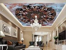 custom newest 2016 3D ceiling murals Pattern dynamic circle vintage wallpaper 3D ceiling murals wallpaper kitchen modern ceiling(China)