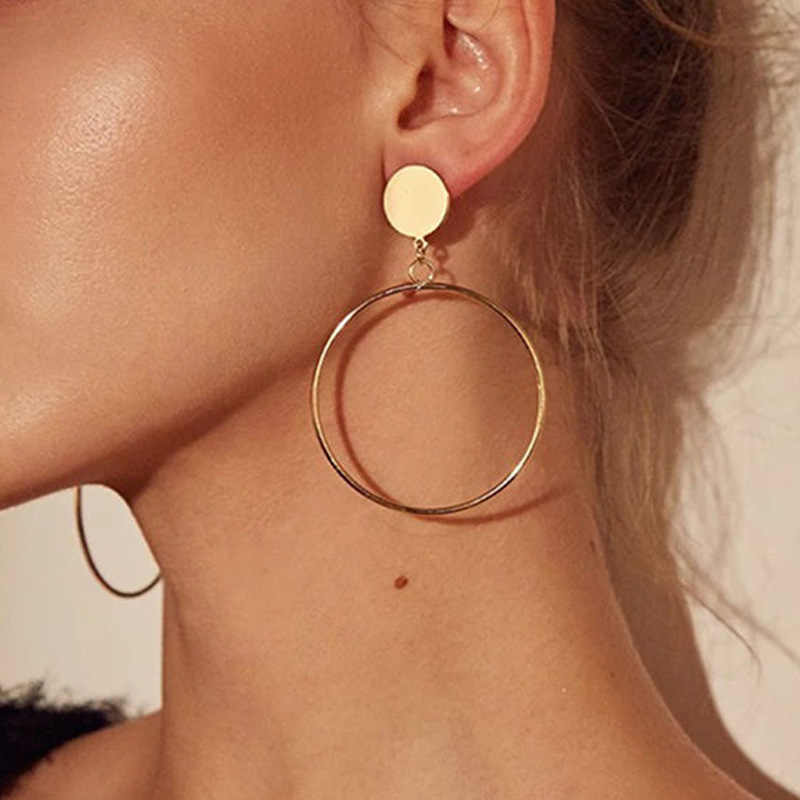 New Simple Fashion Gold Color Silver Plated Geometric Big Round Earrings for Women Fashion Big Hollow Drop Earrings Jewelry Gift