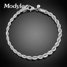 Free shipping Women Bracelet wholesale Brand fashion Silver-Color chain women jewelry charm bracelet bangles for women(China)