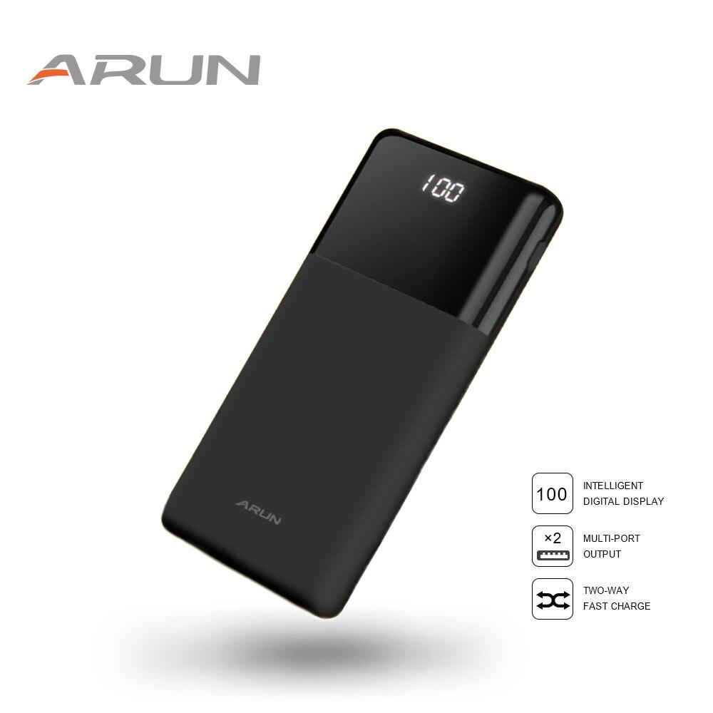 ARUN Accumulatori e caricabatterie di riserva 20000 mah LCD powerbank batteria esterna Mobile Portatile Veloce caricare Le Batterie per il iphone Samsung poverbank caso