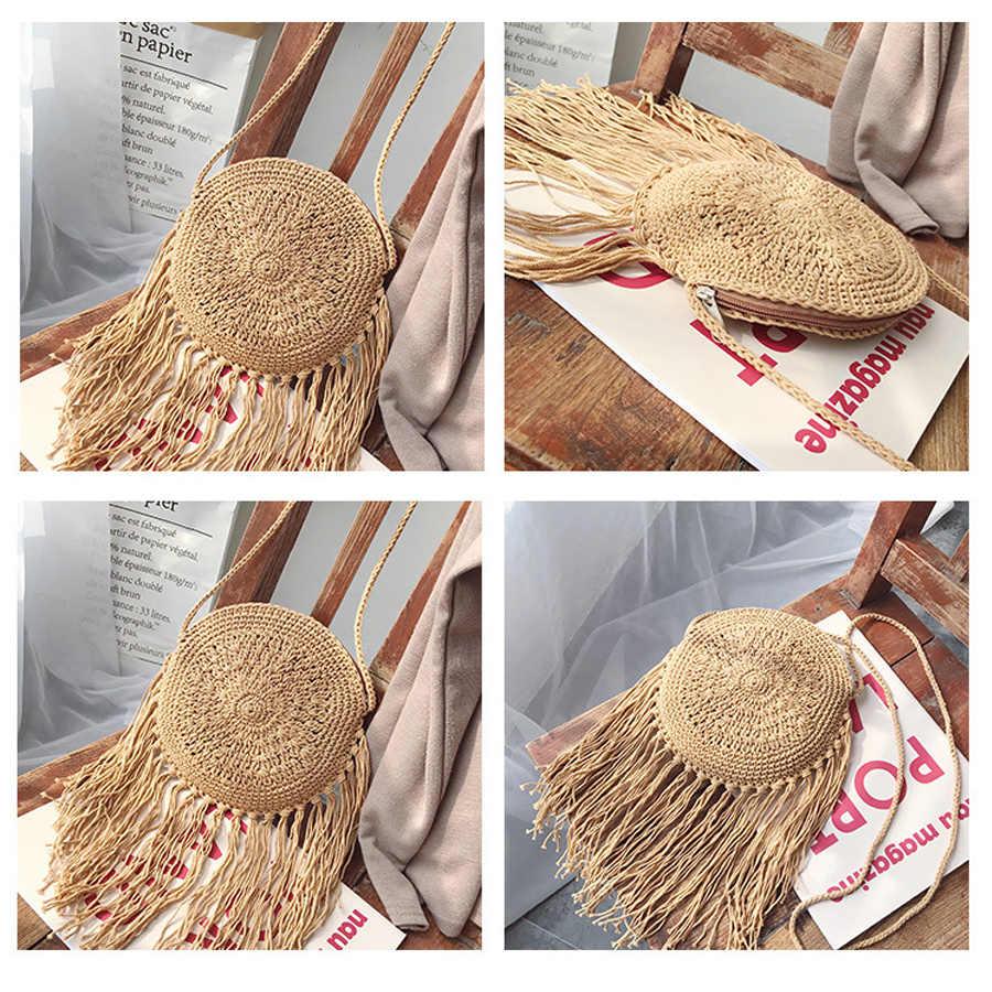 Соломенные сумки с длинной кисточкой в богемном стиле, женские плетеные сумки через плечо из ротанга, маленькие сумочки на лето, пляжная сумка