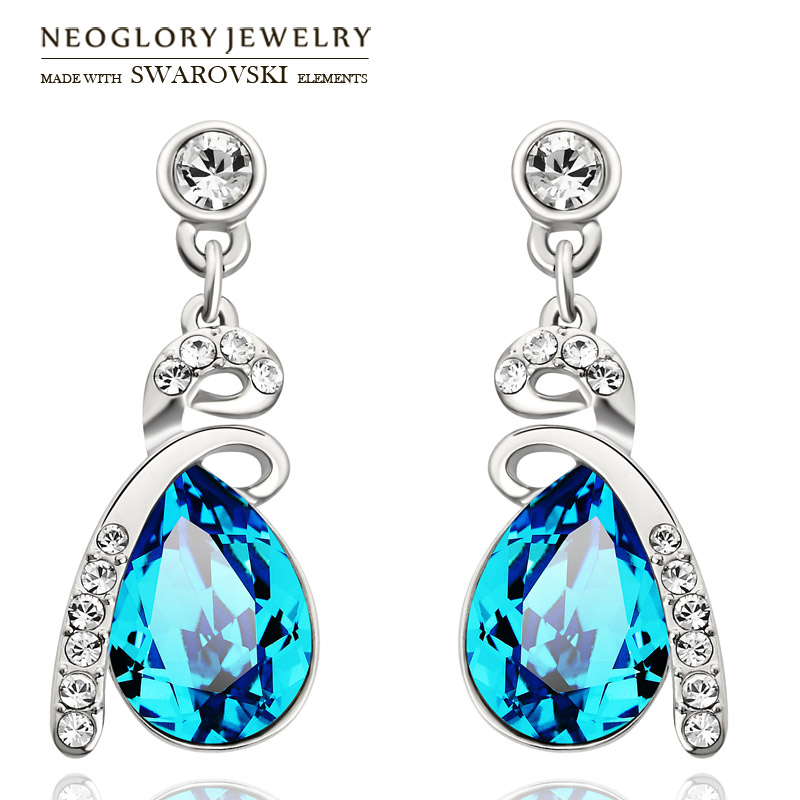 Neoglory Austria Crystal & Rhinestone Long Dangle Earrings Water Drop Design Alloy Plated Women Elegant Style Sale Gift